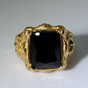 Other - Gold Stainless Steel Black Baguette Onyx Ring